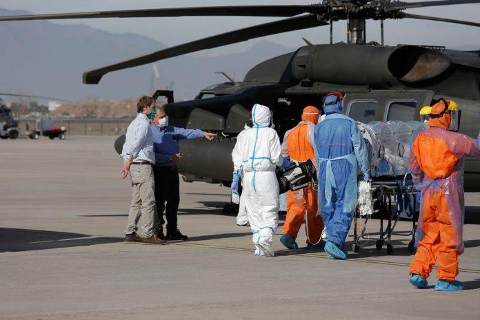 pacientes COVID-19 fueron trasladados en helicópteros