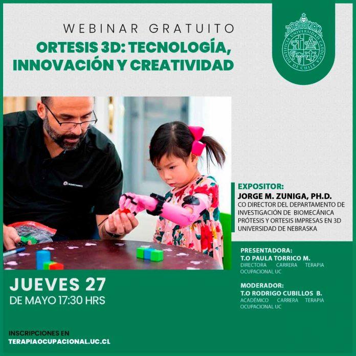 Carrera de Terapia Ocupacional UC realizó charla con chileno experto en biomecánica humana en prótesis 3D